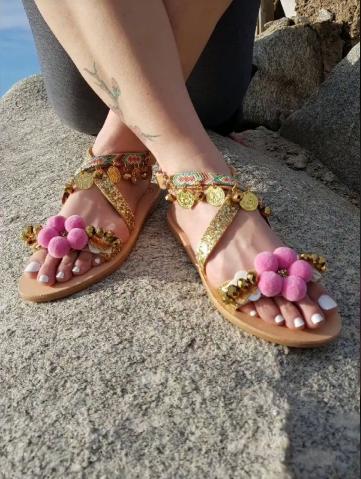Latest Boho Sandals with Pompom11