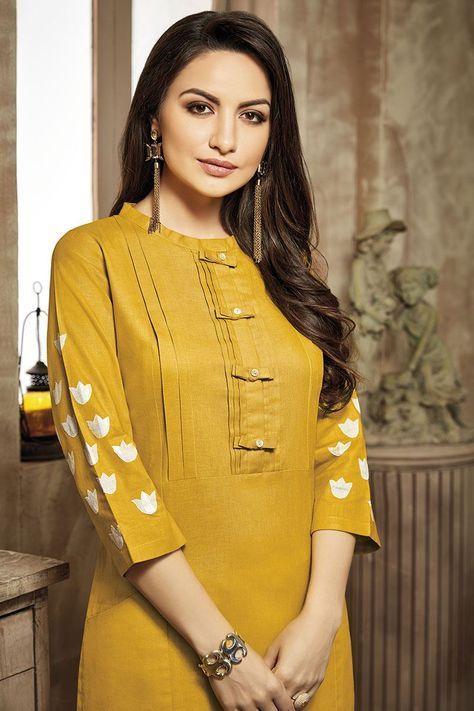 yellow designer kurti design