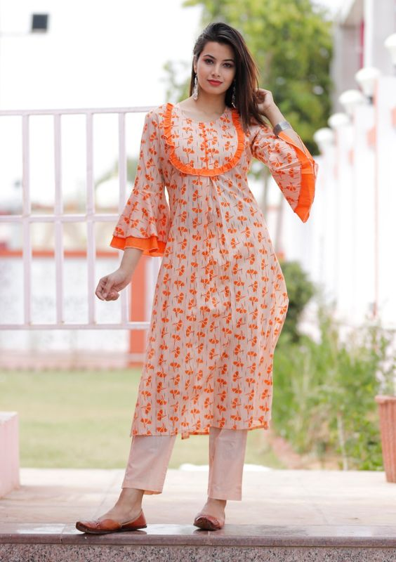 kurti with bell sleeve