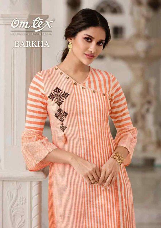 orange color kurti design