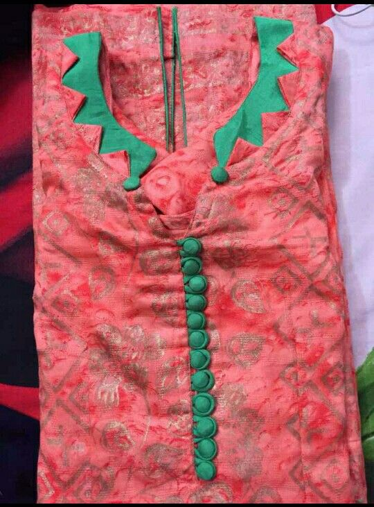 red kurti with neck design