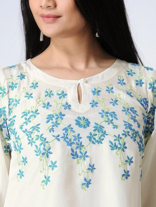 floral embroidery boat neck white kurti