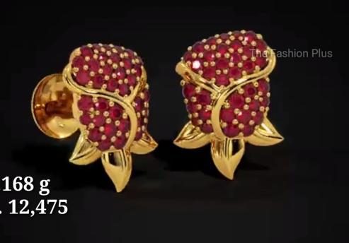 Light Weight Gold Ear Stud Designs4