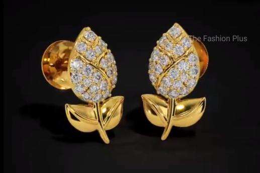 Light Weight Gold Ear Stud Designs5