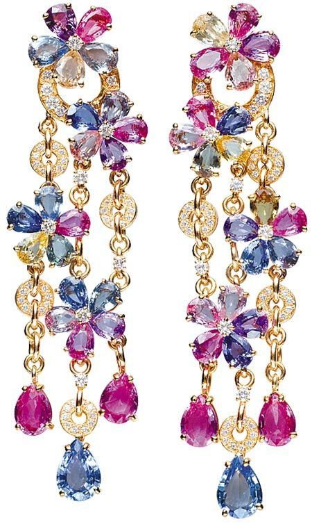 Multi-Coloured Diamond Earrings1