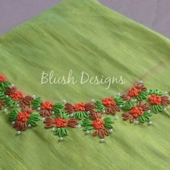 simple embroidery worked green kurta