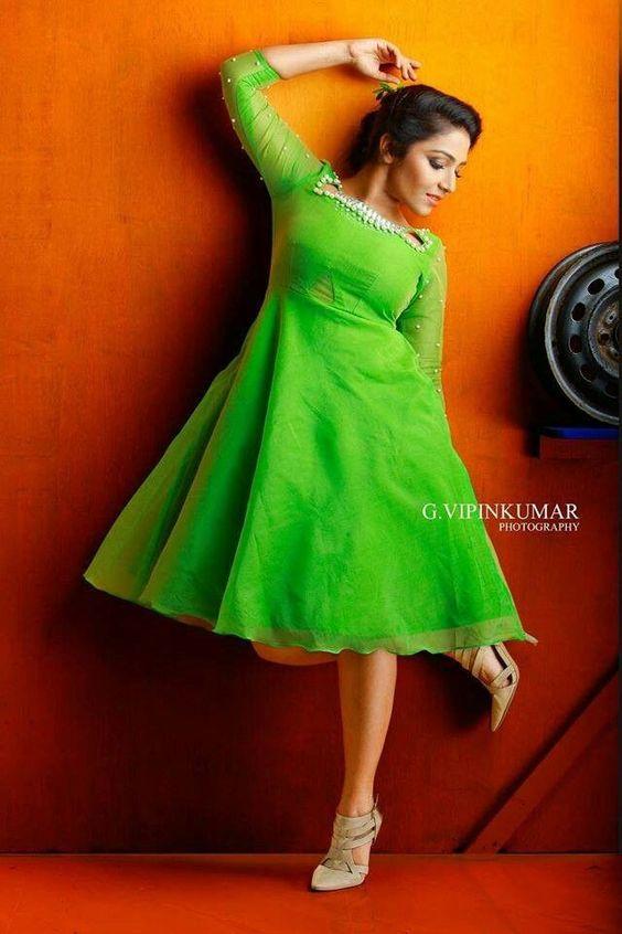 designer green color kurta