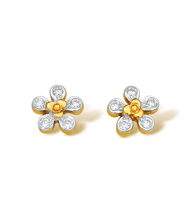 beautiful floral stone ear stud