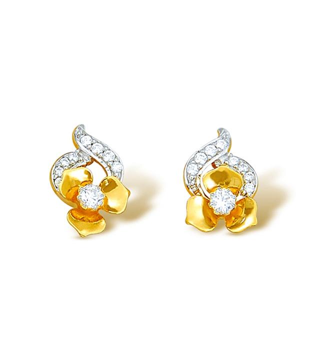 diamond gold ear stud