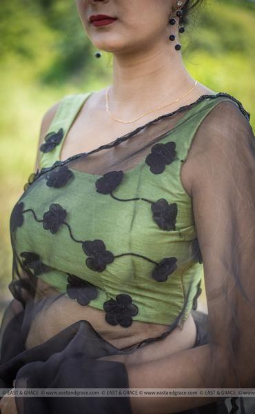sleevless green blouse design