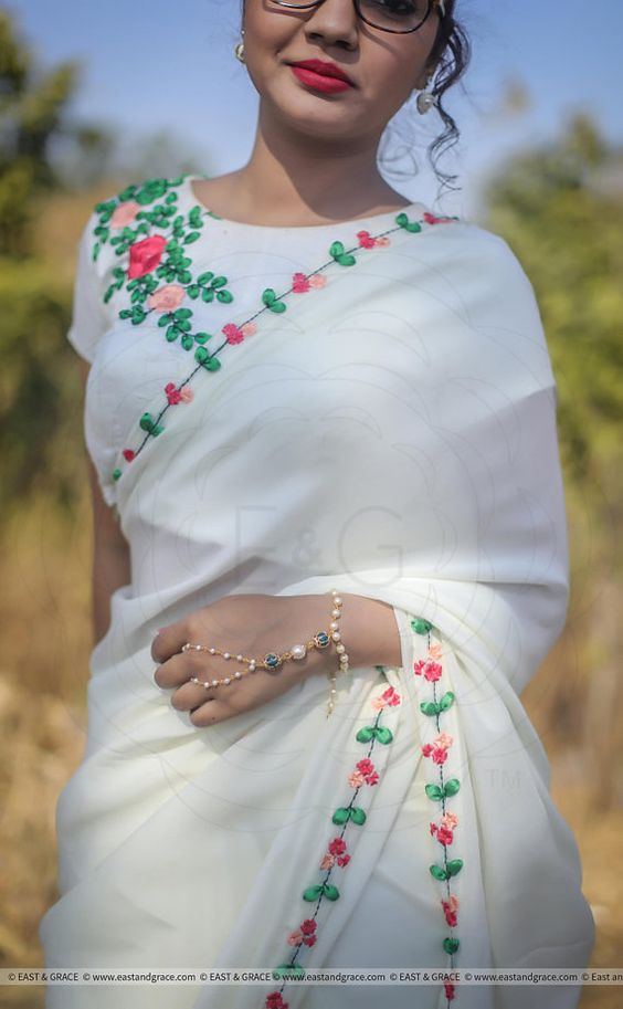 white blouse with floral embroidery