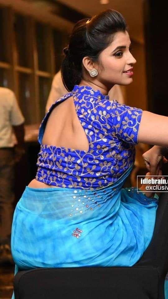 high collar work blouse design