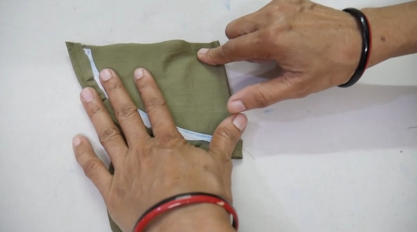 attaching the design with the churidar cloth