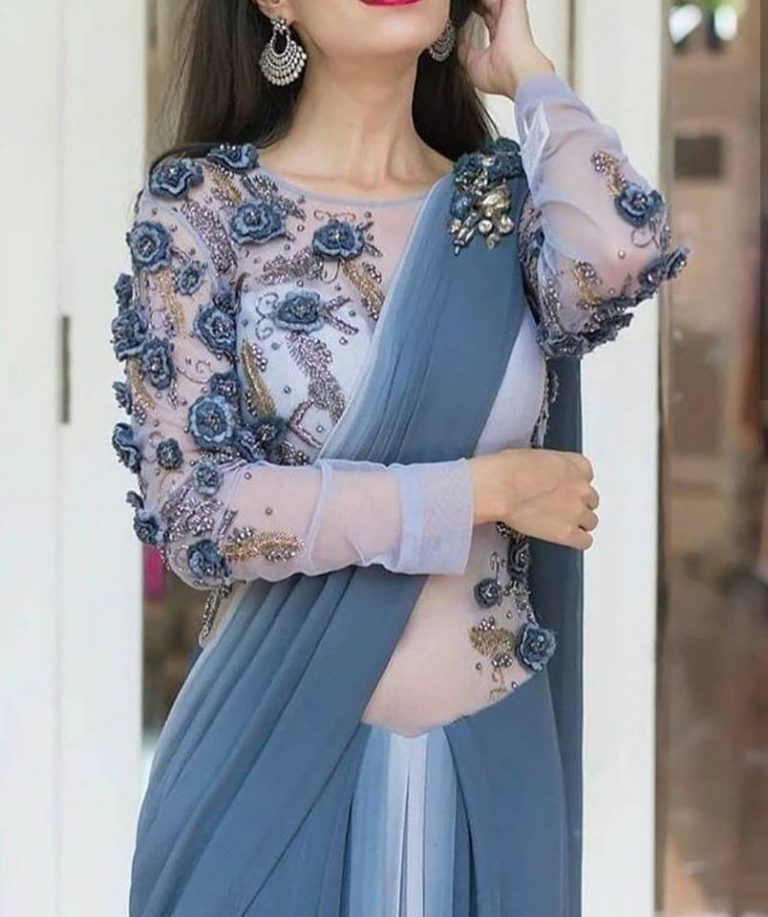 floral design boat neck blouse