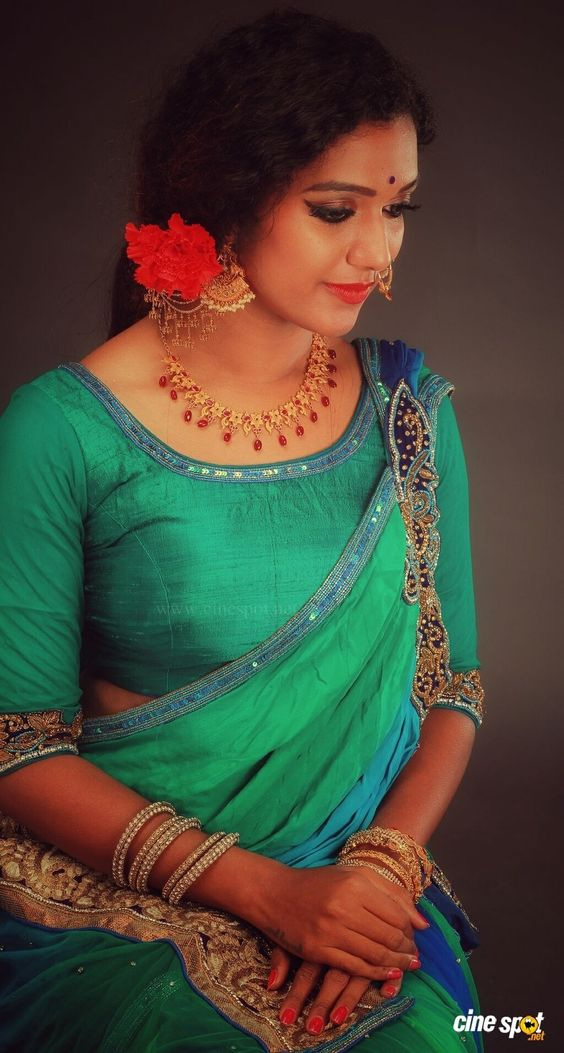 green princess cut blouse design