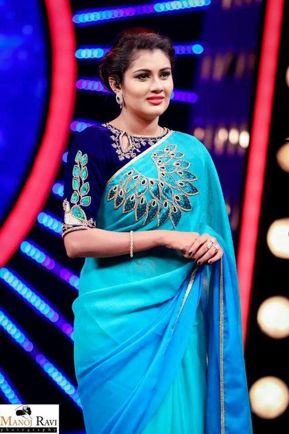 blue peacock design blouse