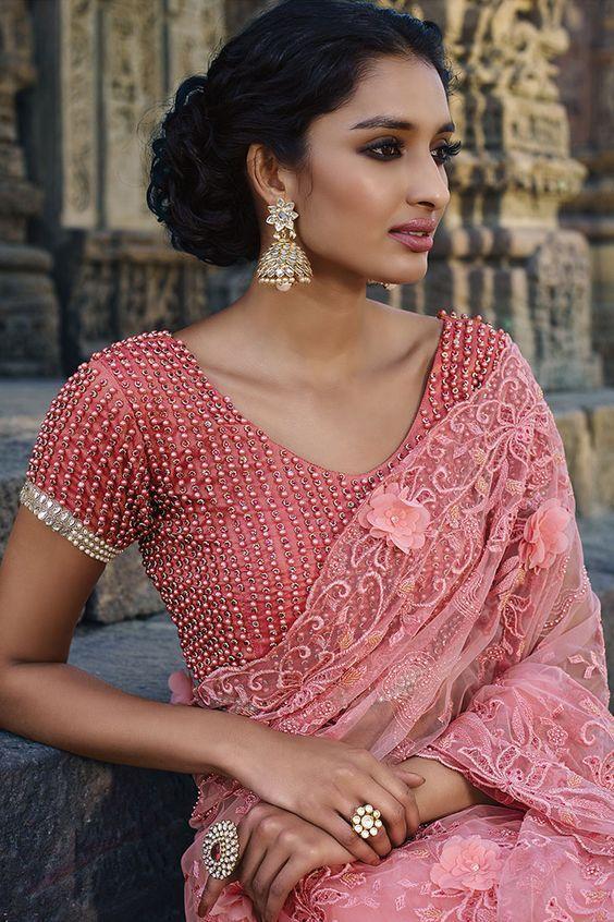 full bead work blouse design