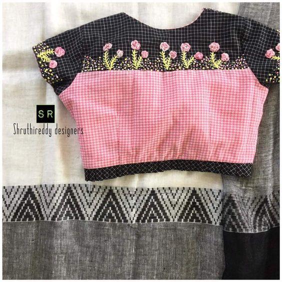 rose black combo blouse design