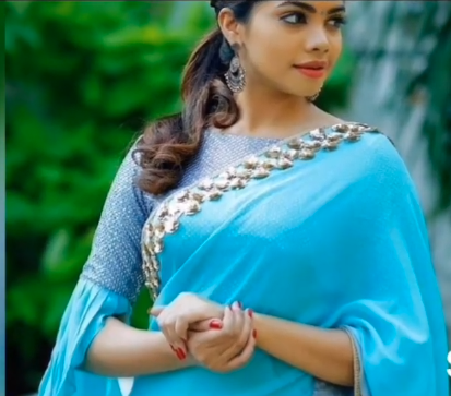 blue blouse with ruffled sleeve