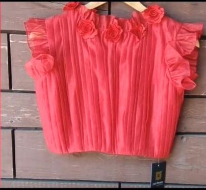 peach trendy blouse design