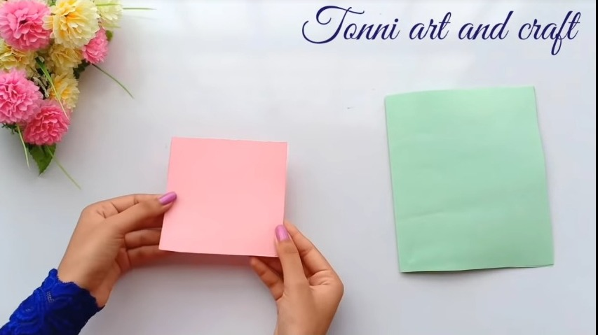 taking a square paper
