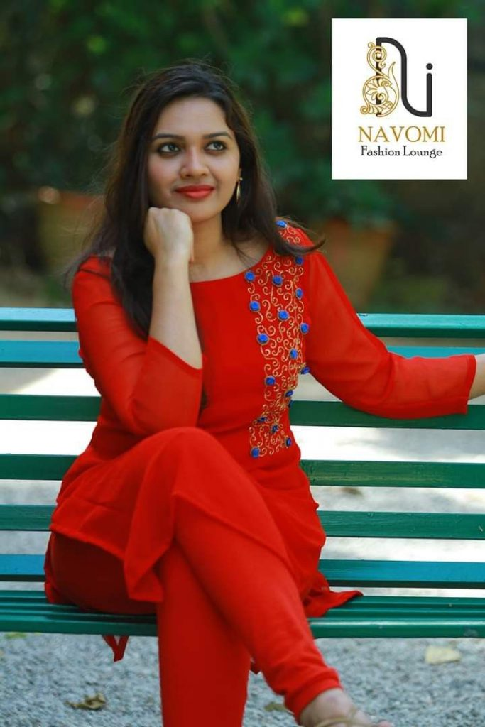 red kurti with embroidery design
