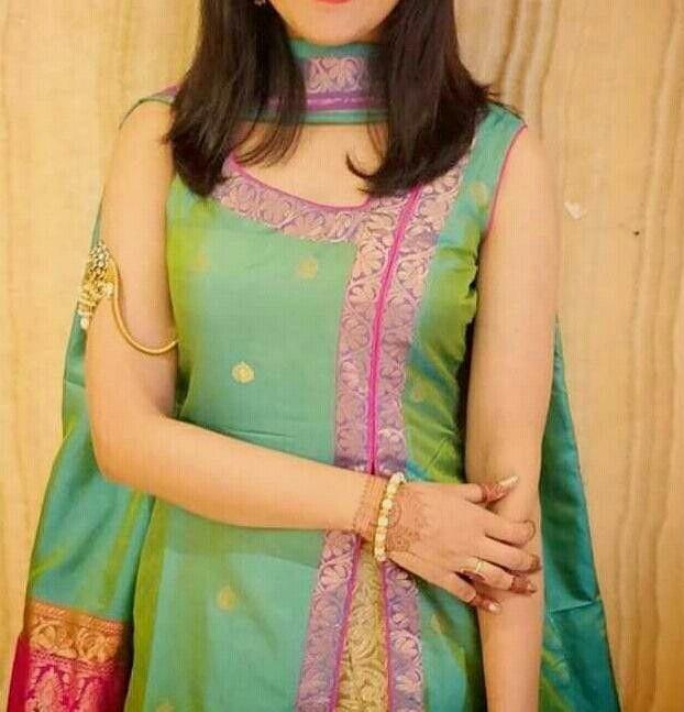 silk cloth kurti design