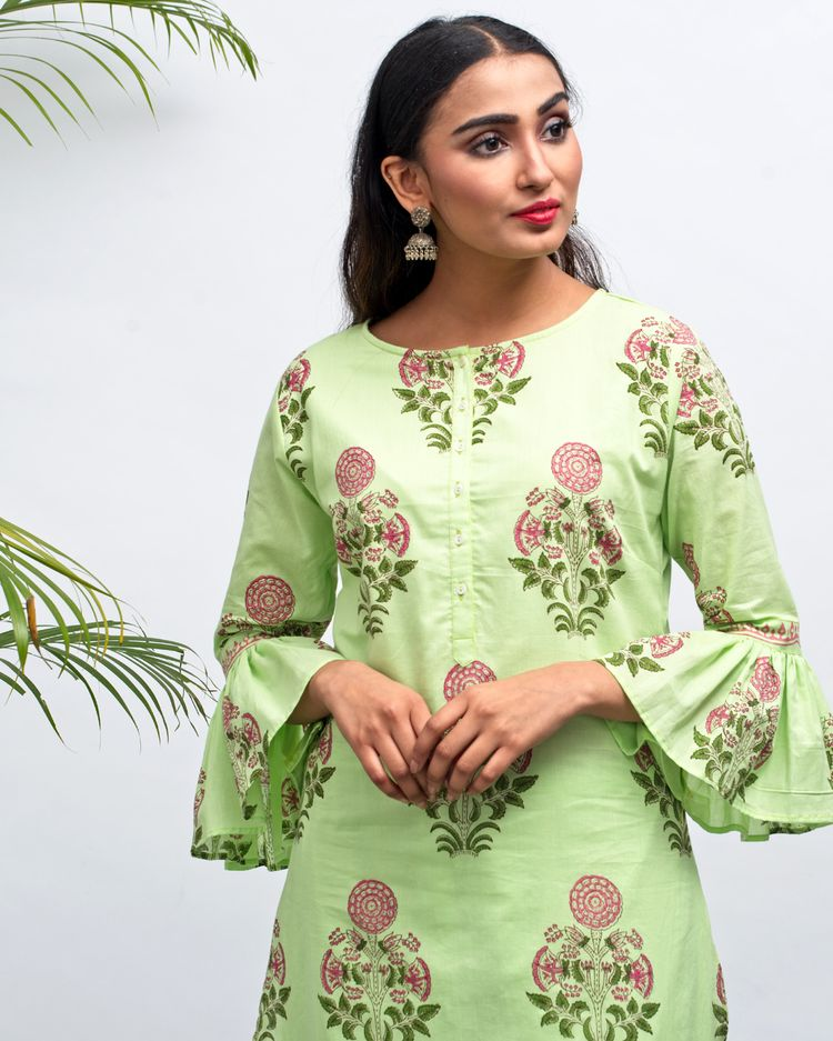 green kurti with bell sleeve