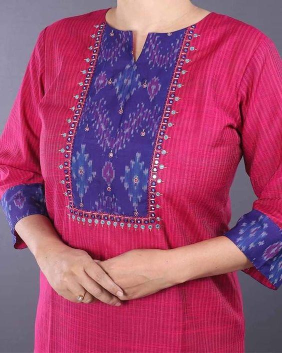 pink and blue combination kurti