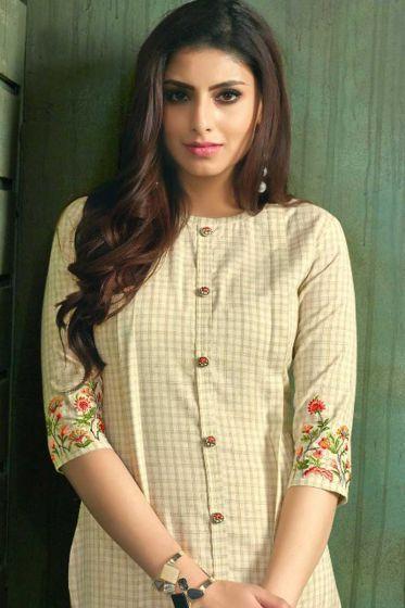trendy off-white kurti design