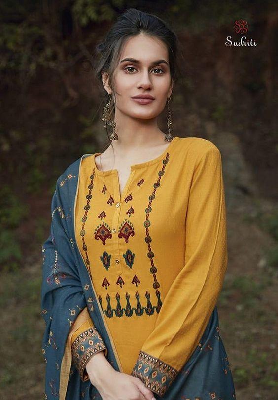 yellow classy kurti design