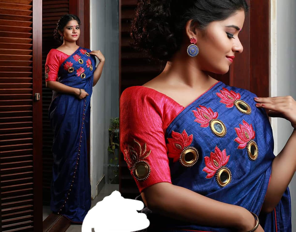 red blouse with elbow sleeve and mirror work