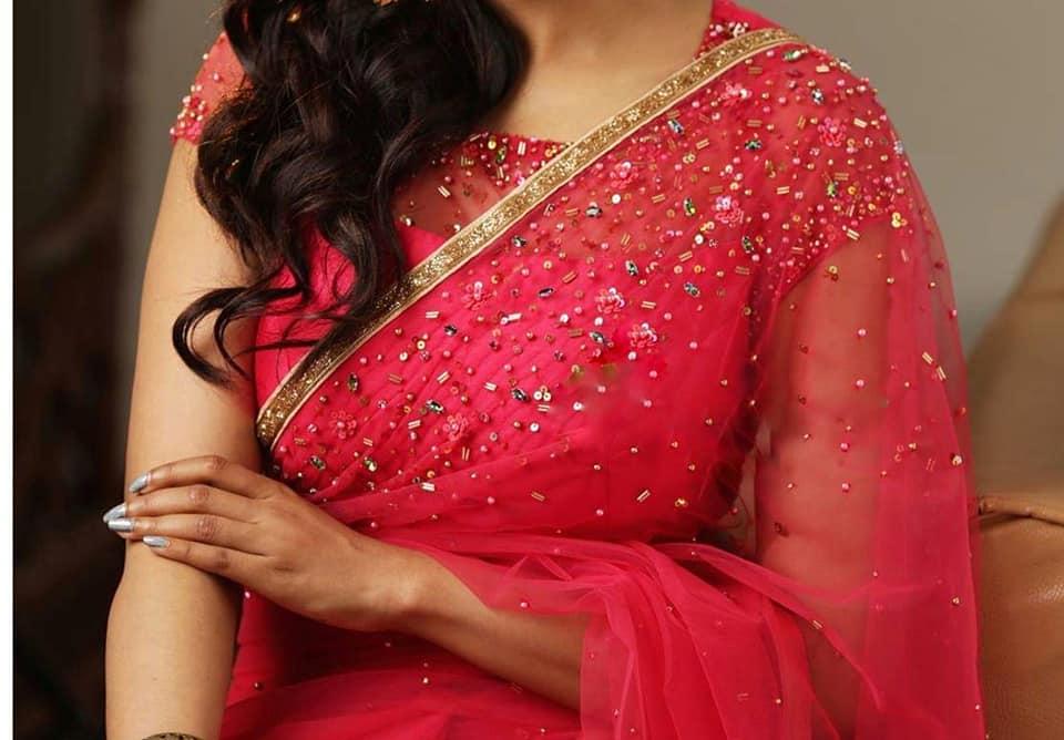 simple designer red blouse