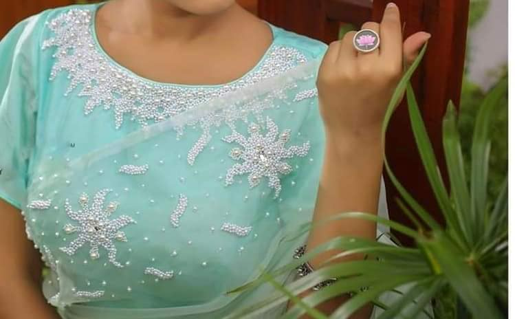 blouse with white pearl work
