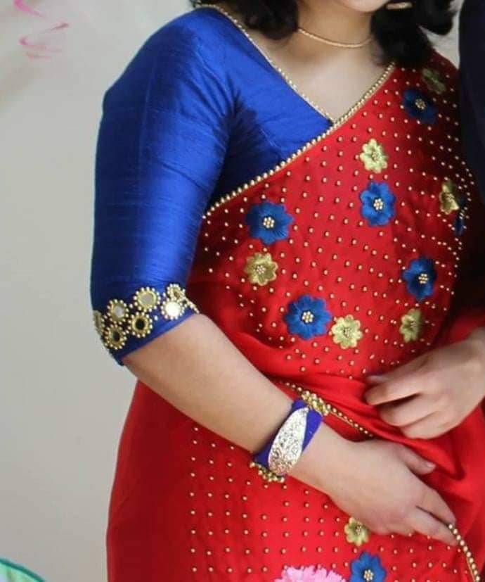 blue blouse with mirror worked sleeve