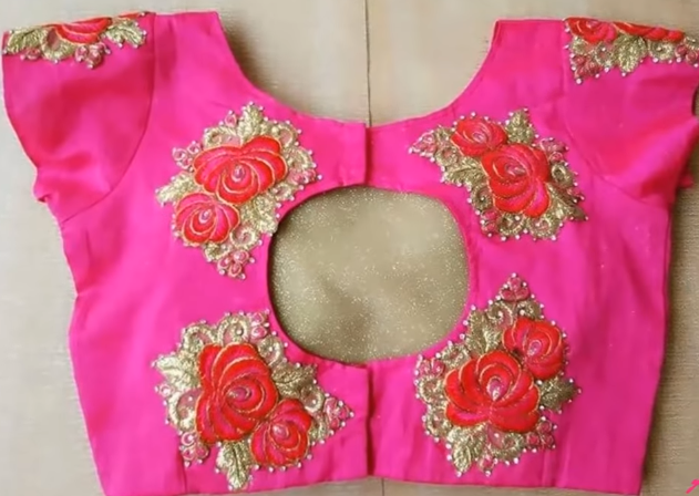 pink blouse with back cut work
