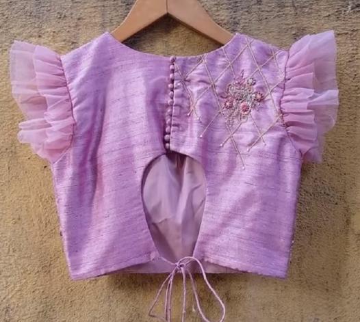 purple blouse with net ruffled short sleeve