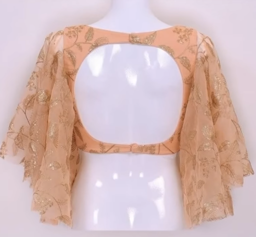 boat neck blouse with layered net sleeve