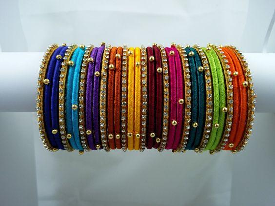 multi color simple Silk Thread Bangles