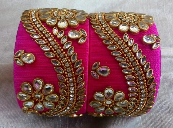 heavy pink Silk Thread Bangles