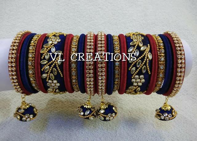 blue red combination Silk Thread Bangles