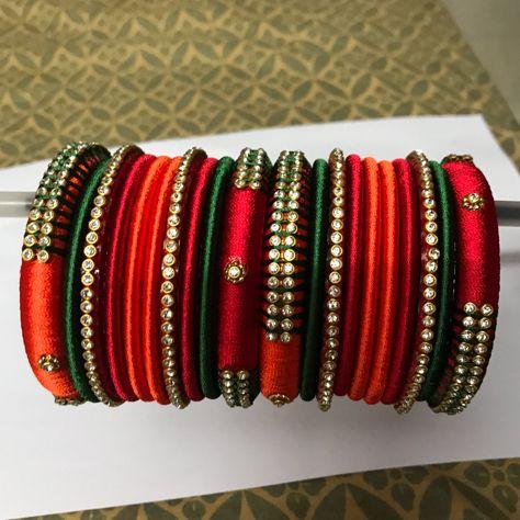 red,orange and green Silk Thread Bangles