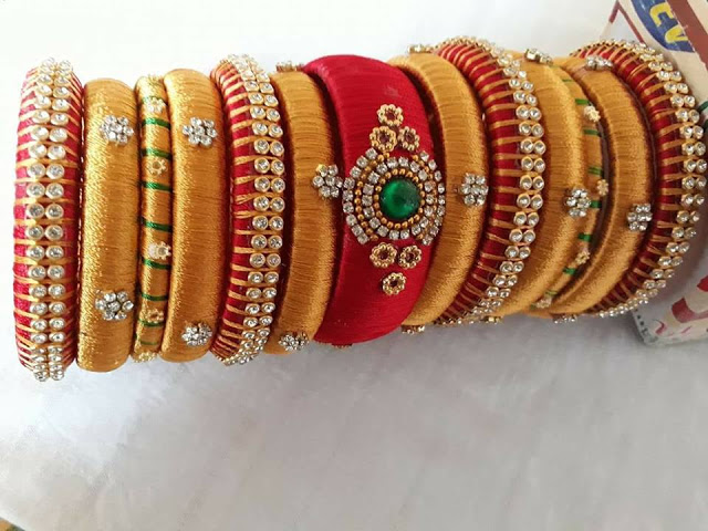 red and golden Silk Thread Bangles