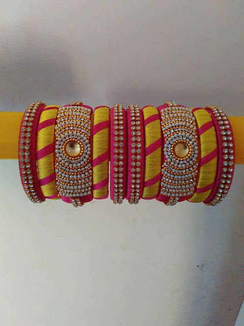 yellow and pink combination Silk Thread Bangles