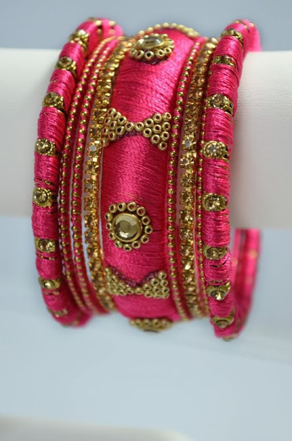 rose Silk Thread Bangles