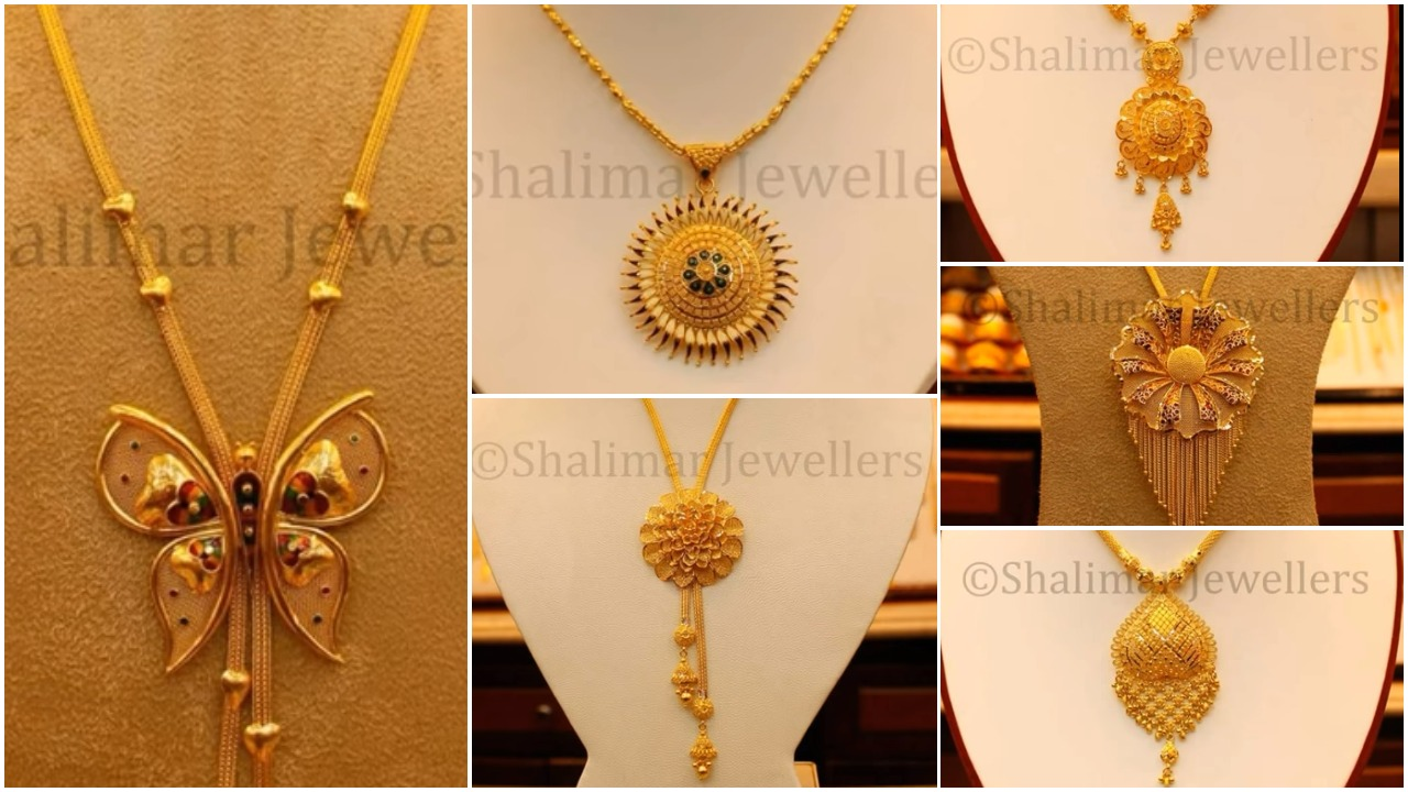 Gold Pendant Designs with Long and Short Chains