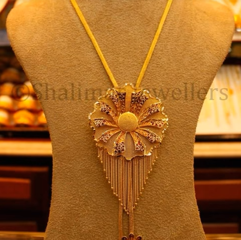 Gold Pendant Designs with Long and Short Chains1