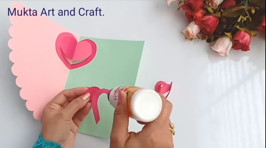 gluing it at the centre of card