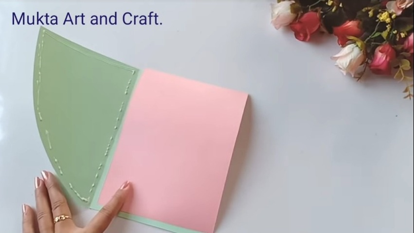 gluing a pink chart with the cutted portion