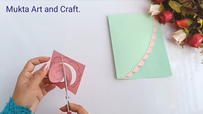 making flowers with a rose paper